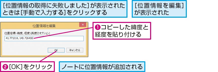 操作解説:コピーした位置情報を貼り付ける