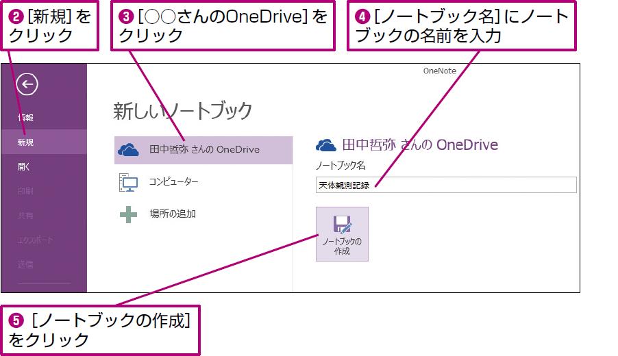 操作:[新規]からOneDrive上に新しいノートブックを作成する。
