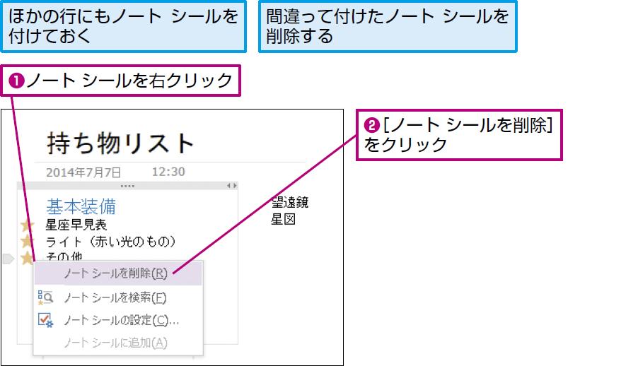 操作:ノート シールを右クリックし、[ノート シールを削除]を選択する。