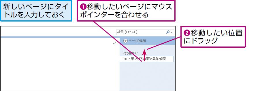 操作:ページの一覧で移動したいページを移動先までドラッグする。