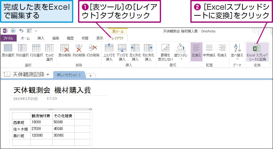操作:[表ツールレイアウト]タブの[Excelスプレッドシートに変換]をクリックする。