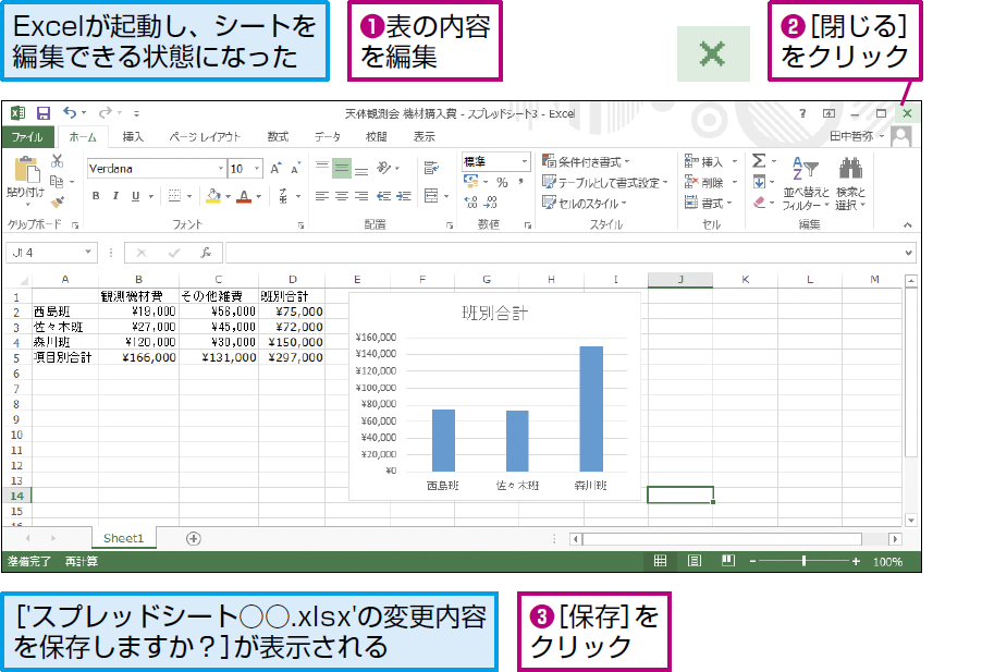 操作:Excelで表を編集し保存して閉じる