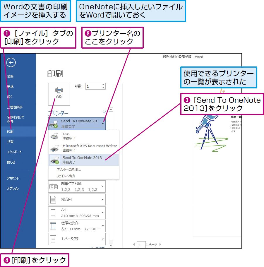 操作:アプリケーションの印刷設定で[OneNote]を選択して印刷を実行する。