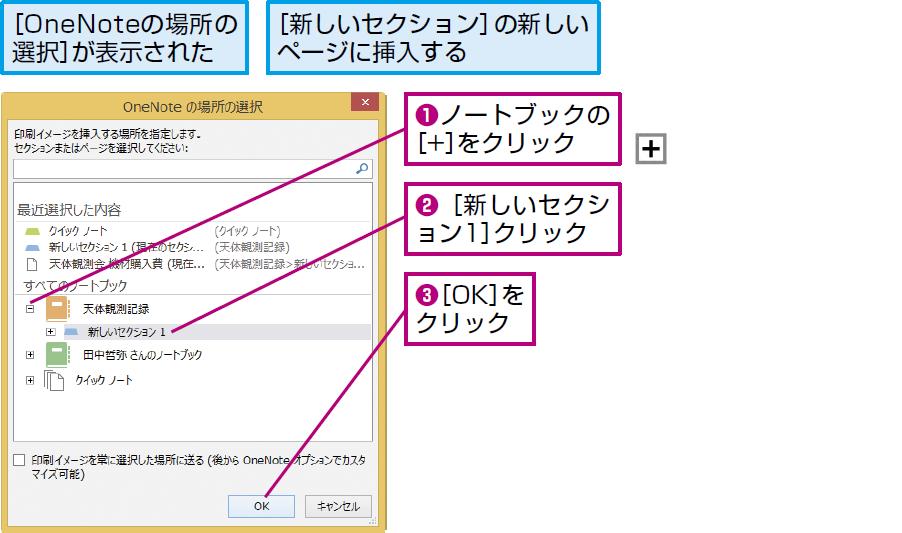 操作:OneNoteで印刷イメージを挿入したいページを選択する。