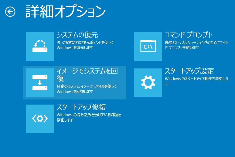 Windows 8.1の環境を保存したシステムイメージから復元するには