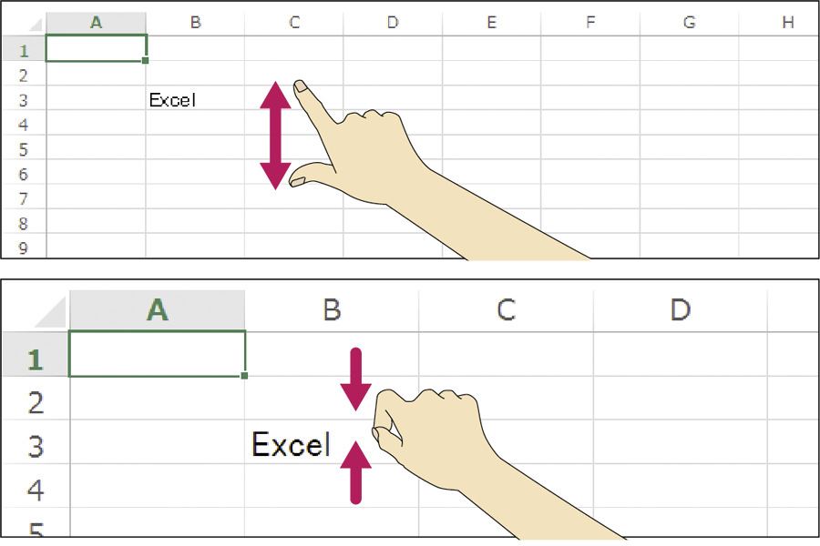 WordやExcelの画面の表示倍率をタッチ操作で変更する