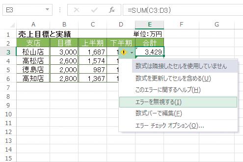 Excelで緑色の三角形マーク(エラーインジケーター)を非表示にする方法