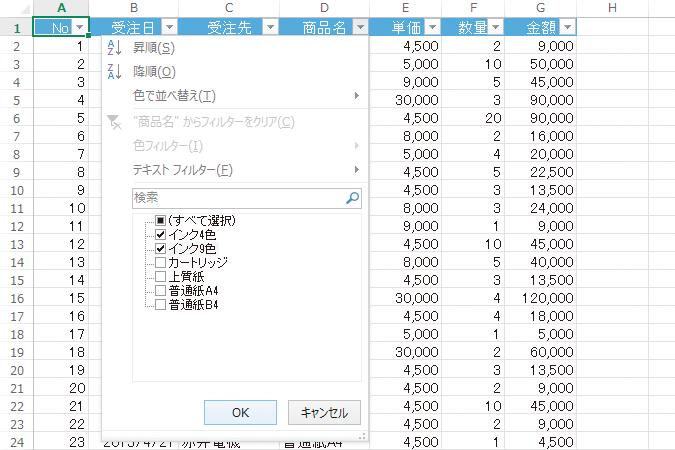 Excelのオートフィルターで商品名を指定してデータを抽出する方法