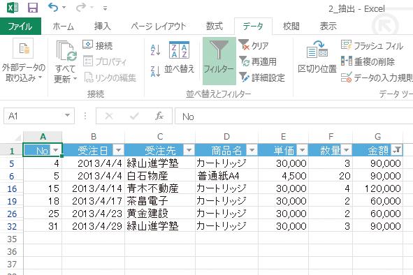 Excelのオートフィルターで売り上げのベスト5を抽出する方法