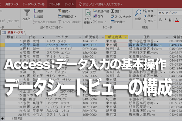 Accessのテーブル(データシートビュー)の画面構成とアイコンの意味