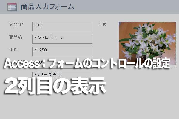 Accessのフォームにコンボボックスの2列目の値も表示する方法