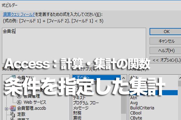 Accessの「Dsum」関数で条件に合うレコードのみ集計する方法