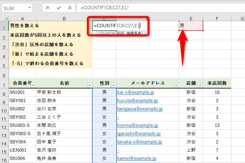 COUNTIF関数でデータを数える。比較演算子、ワイルドカードで複雑な条件も指定可能
