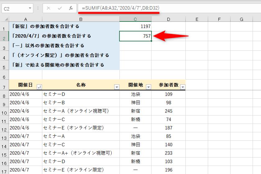 SUMIF関数で数値を合計する。比較演算子とワイルドカードで思い通りに合計可能
