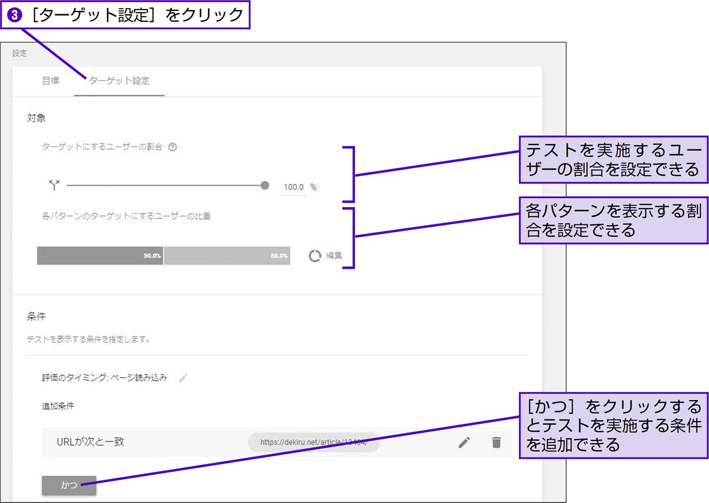対抗パターンと目標を設定してA/Bテストを開始する - できる逆引き Googleアナリティクス 増補改訂2版